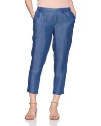 NYDJ Petite Hidden Drawstring Linen Pant - Blue