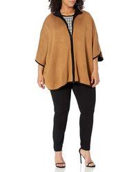 Anne Klein Size Plus Zip Front Cape - Gray
