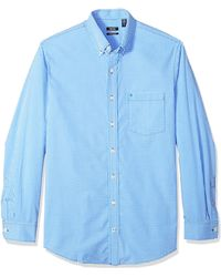 Izod Mens Big And Tall Long Sleeve Stretch Performance Gingham Button Down Shirt - Blue