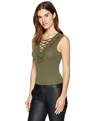 3009668749aa Guess Nea Lace Bodysuit in Red - Lyst
