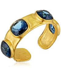 Kenneth Jay Lane - Satin Gold And Sapphire Hammered Hinged Cuff Bracelet - Lyst