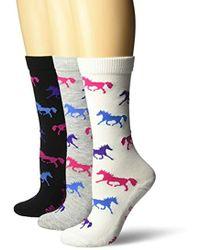 Wrangler Ladies Horse Crew Socks 3 Pair Pack - Multicolor