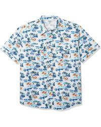 Izod Big & Tall Big And Tall Short Sleeve Beach Button Down Printed Shirt - Blue