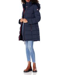 Tommy Hilfiger Midlength Stretch Puffer With Faux Fur Trimmed Hood - Blue