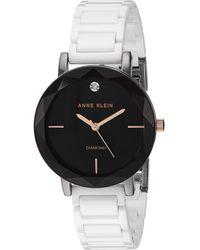 Anne Klein Ak/3365gywt Diamond-accented White Ceramic Bracelet Watch - Multicolor