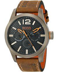 BOSS by Hugo Boss Boss Orange 1513240 Paris Japanese Quartz Brown Watch With Analog Display - Black