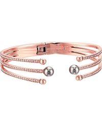 Michael Kors - S Pavé Crystal And Grey Pearl Hinged Bracelet - Lyst