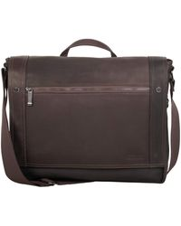 """Kenneth Cole Reaction Mess Essentials' Colombian Leather Business 15.6"""" Laptop Messenger Bag - Brown"""
