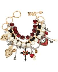 Betsey Johnson Mixed Heart Charm Multi Row Toggle Bracelet - Red