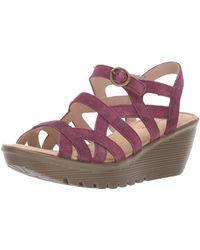 Skechers Parallel-three Strap Buckle Slingback Wedge Sandal - Purple