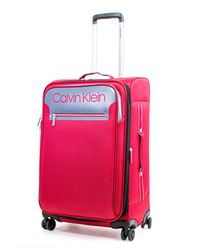 Calvin Klein Flare Softside Spinner Luggage - Red