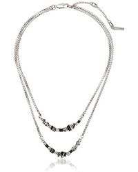 """Kenneth Cole - Stone Cluster Metallic Mixed Metallic Faceted Stone 2 Row Necklace, 16"""" + 3"""" Extender - Lyst"""