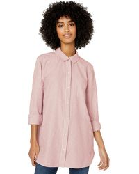Goodthreads Washed Oxford Long-sleeve Button-front Tunic - Pink