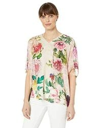 Johnny Was Scarf Printed Relaxed Top With Ruched Sleeves - Multicolor
