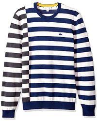 Lacoste - Broken Striped Cotton Sweater - Lyst