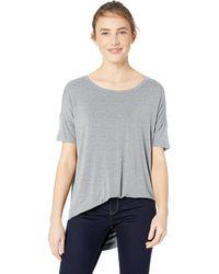 Daily Ritual Jersey Rib Trim Drop-shoulder Short-sleeve Scoop-neck Tunic - Gray