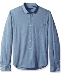 Perry Ellis Slim Fit Knit Untucked Shirt - Blue