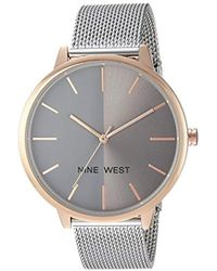 Nine West Nw/1781wtwt Silver-tone And White Strap Watch - Metallic