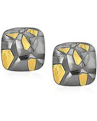 Gurhan Century Sterling Silver Square Sculptural Clip Post Earrings - Metallic