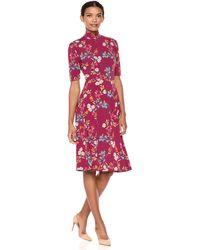 Donna Morgan Floral Mock-neck Short-sleeve Dress - Red