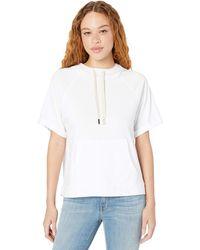 Michael Stars Joy Ventura Jersey Half Sleeve Hoodie Sweatshirt - White