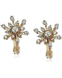 Napier Gold-tone Crystal Snowflake Clip On Earrings, Gold - Metallic