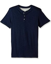 Lee Jeans Henley Short Sve T-shirt | Casual, Soft Breathable Cotton Tee | Regular Fit, Big And Tall - Blue