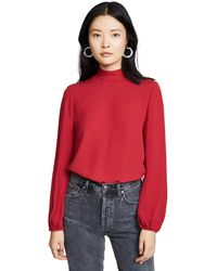 Theory Mock Neck Top - Red
