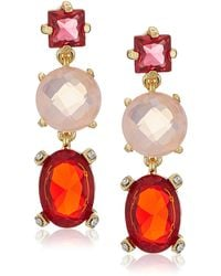 Badgley Mischka S Triple Drop Stone Warm Drop Earrings - Metallic