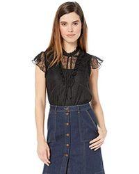 BCBGeneration Ruffle Sleeve Lace Knit Top - Black
