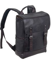 """Kenneth Cole Reaction Colombian Leather Single Gusset Flapover Computer Backpack, 14.1"""" - Brown"""