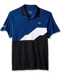 Lacoste Mens Short Sleeve Jersey Caviar Print with Button Front Placket Polo