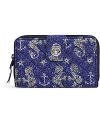 Vera Bradley Signature Cotton Turnlock Wallet With Rfid Protection - Blue