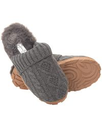 Jessica Simpson S Soft Cable Knit Slippers With Indoor/outdoor Sole - Gray