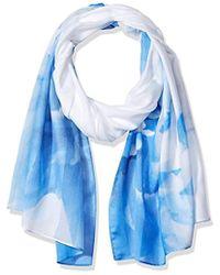Calvin Klein - Shadow Stripe Floral Chiffon Scarf - Lyst