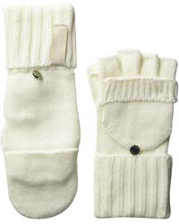 Calvin Klein Knitted Convertible Fingerless Gloves With Mitten Flap Cover - Natural
