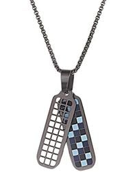 """Ben Sherman - 26"""" Black/blue/light Blue Checkerboard Dog Tag Necklace With Stainless Steel Black Ip Rolo Chain - Lyst"""