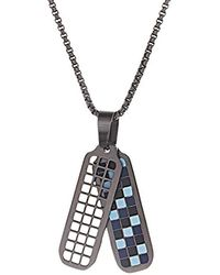 Ben Sherman - Black/light Blue Checkerboard Dog Tag Necklace With Stainless Steel Black Ip Roll Chain, 26 - Lyst