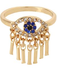 Jessica Simpson Evil Eye Fringe Ring - Blue