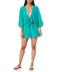 Vince Camuto Convertible Tie Cover Up Romper - Blue