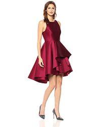 Halston - Sleeveless Boatneck Dress With Dramatic Skirt - Lyst