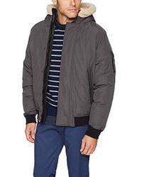 Sean John Ultra Warm Bomber Jacket With Sherpa Trim Hood - Gray
