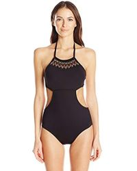 Kenneth Cole Reaction - Sea Gypsy Hand Beaded High Neck Cut-out One Piece Swimsuit - Lyst