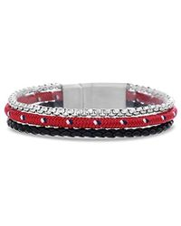 Ben Sherman - Black Braided Leather And Rolo Box Chain With Red Wrap Cord 3 Strand Bracelet In Stainless Steel, Red, 8 - Lyst