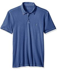 John Varvatos - Short Sleeved Cut And Sew Polo With Peace Sign Emb - Lyst