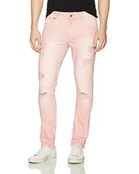 Guess - Skinny Destroy Jeans In Dusty Wash Pink - Lyst