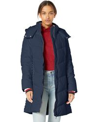 Tommy Hilfiger Midlength Chevron Quilted Hooded Puffer Jacket - Blue