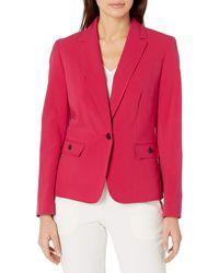 Nine West 1 Button Stretch Notch Collar Jacket Blazer - Rot