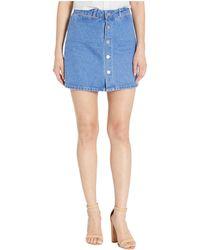PAIGE Esma Hi Rise A Line Skirt W/snaps - Blue