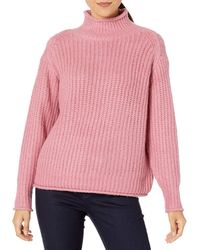 Vince Camuto Texture Stitch Mock Neck Sweater - Pink